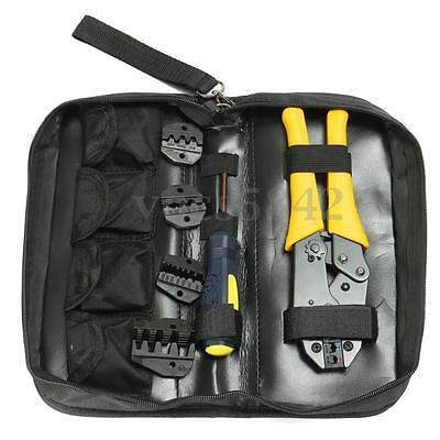 Insulated Terminals Ferrules Crimping Plier Ratcheting Cable Crimper Tool Kit US