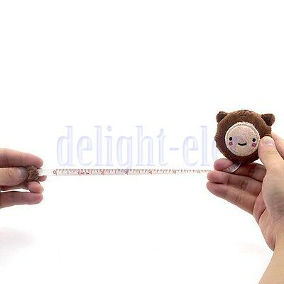 Cute Retractable 60inch Tape Ruler Measure Sewing Cloth Dieting Tailor Brown DE