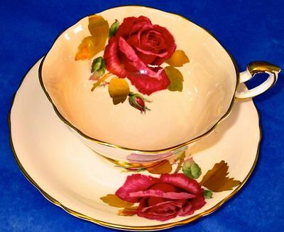 Paragon Exquisite Hand Painted Rose Golden Leaves Signed R. Johnson Cup & Saucer