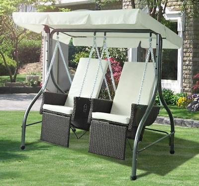 Outdoor Garden Rattan Swing Chair Cushioned Hammock Bench Seat Lounger Set Brown