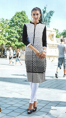 Indian Pakistani 100% Cotton Kurti Bollywood Ethnic Tunic Size-XL Bust 42 White