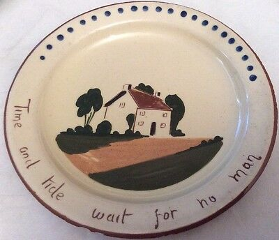 """Tourquayware Watcombe """" Time And Tide Wait For No Man """" 18.5cm Diameter"""