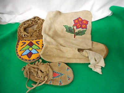 Vintage 2 Moccasins and Boot Beaded on Leather Hand Made
