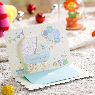 Wishmade 50X Laser Cut Baby Invitations Cards Baby Boy Birthday Greeting Cards