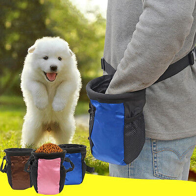 Pet Dog Puppy Snack Obedience Agility Bait Training Food Treat Pouch Bag Blue 1x