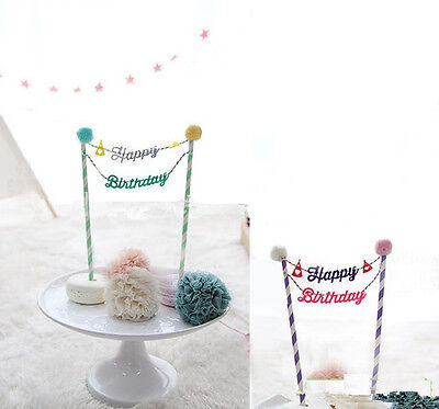 Happy Birthday Cake Cupcake Bunting Banner Flag Food Topper babyShower Party HU