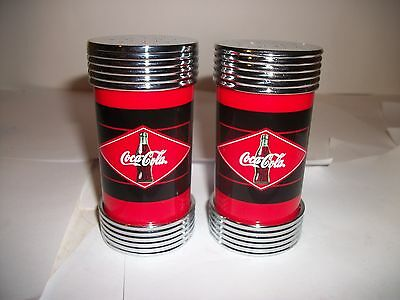 Coca Cola Salt & Pepper Shakers with Red and Black Diamond Logo New Unused 2005