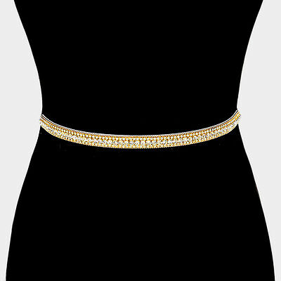 Crystal Rhinestone Bridal Sash Belt Satin Ribbon Wedding Party Gold Felt Back