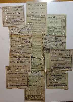 Western Pacific Railway Ticket - lot of 10   - issued in 1911-1922