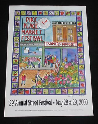 Pike Place Market 29th Annual Street Festival Print Poster Pamela Corwin Signed