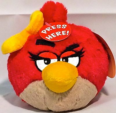 """Rovio ANGRY BIRDS FEMALE RED BIRD 5"""" PLUSH TOY DOLL w/ SOUND Offic Licensed NWT"""