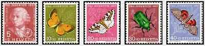 Timbres Insectes Papillons Suisse 597/601 ** lot 18395