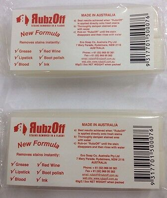 2X  RUBZOFF INSTANT STAIN REMOVER SOAP 60g -GREASE,LIPSTICK,BLOOD,INK,WINE -120g