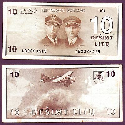 Lithuana, 10 Litu,1991,VF.