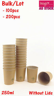 Bulk Double Wall Kraft Paper Cups Coffee Cups 250ml Office Restaurant Party 4304