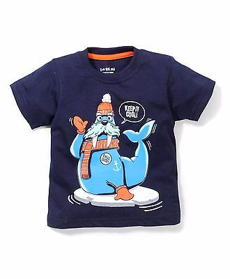 Boys / Kids Size 000,00,0 T-Shirt KEEP IT COOL ! CHILL DUDE Print - Cotton -Navy