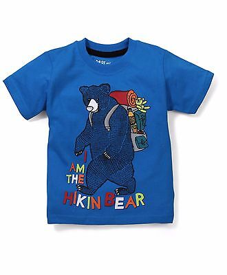 Boys / Kids Size 000,00,0 T-Shirt Cute BEAR Print  -100%  Cotton -Blue