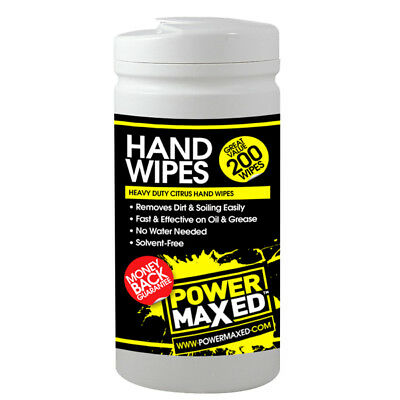 Power Maxed HW200 Heavy Duty Hand Wipes 200 Pieces Citrus Scent Oil Cleaner