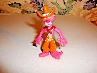 Vintage 1989 Collectible Pink Panther PVC Bendy CowboyToy 3-1/4in