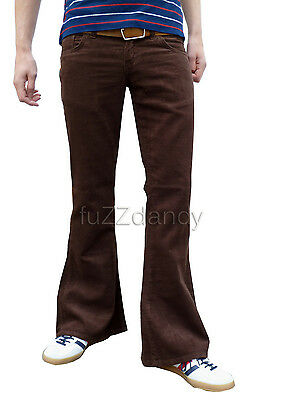 NEW cords FLARES Brown mens bell bottoms hippy vtg indie trousers 30 32 34 36 38
