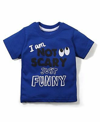 Boys / Kids Size 000,00,0 T-Shirt I m Not Scary But FUNNY -100%  Cotton - BLUE