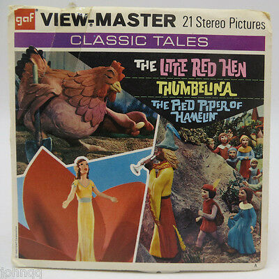 View-Master B319, The Little Red Hen, Thumbelina, Red Piper of Hamelin, 3 Reels