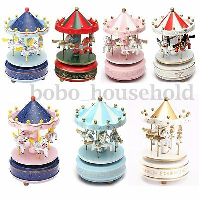 Wind Up Wooden Horse Roundabout Carousels Music Musical Boxes Kids Birthday Gift