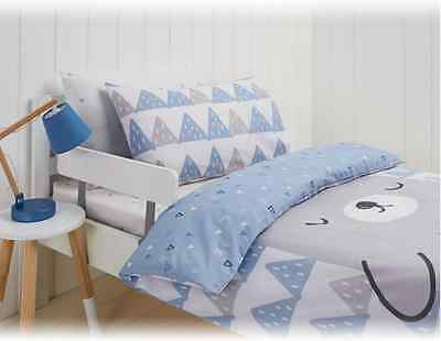 Mountain Bear Blue & Grey Baby Cot / Toddler Bed Quilt/Doona Cover Set - Nursery