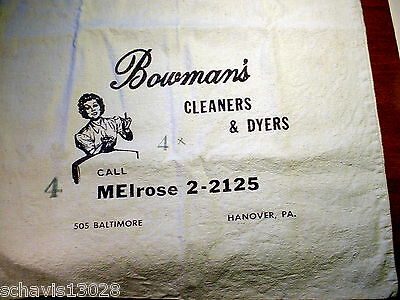 Bowmans Cleaners & Dyers Baltimore St Hanover PA Vintage Cloth Laundry Bag Draw