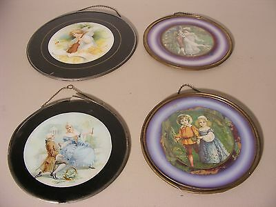 Lot Of 4 Antique Victorian Chimney Flue Covers  ~ Children ~ Angel ~ Couples