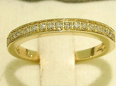 R199- Genuine 9ct SOLID Yellow Gold NATURAL Diamond WEDDING BAND Ring size M