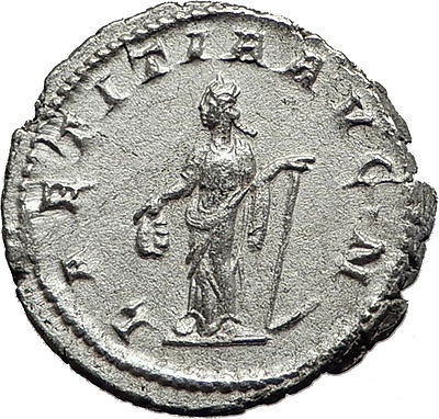 GORDIAN III 241AD Authentic Original Ancient Silver Roman Coin Laetitia i59152