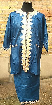 Traditional African Men's Two Piece Dashiki Suit Petrol Blue