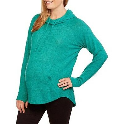Inspire Maternity Brushed Hacci Cowl Neck Hoodie, Peacock Green, Medium