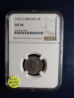 1952 Sixpence Great Britain NGC AU58 Silver 6P Coin Priced To Sell Now!