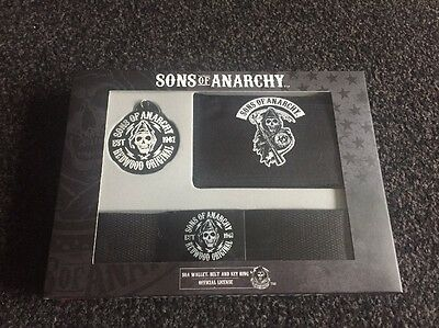 Official Sons Of Anarchy Gift Set  Wallet Belt Keyring Set Bnib