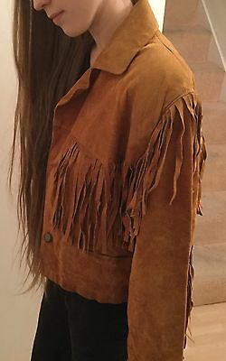 Ladies Vintage Fringed Tan Sueded Leather Jacket Size 10 C&a