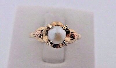 Vintage Two Tone 10k Yellow & Rose Gold Pearl Genuine Diamonds Accent Ring 6.5