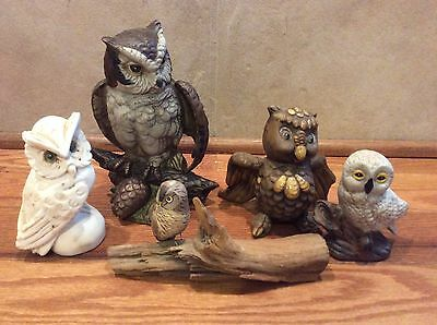 LOT OF 5 COLLECTABLE OWL FIGURINE Ceramic Wood Plaster