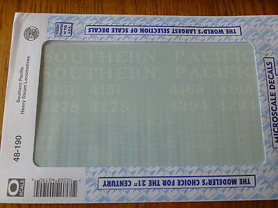 Microscale O #48-190 Southern Pacific Heavy Steam Locomotives (Decal Sheet)