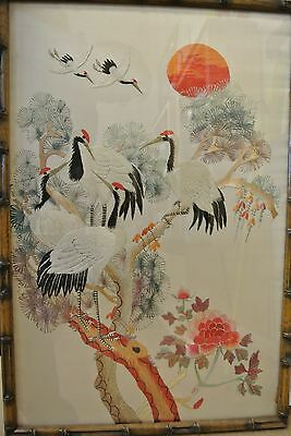Vintage Chinese Embroidered Silk Picture Floral & Cranes Framed