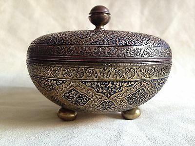 Antique Brass Bowl With Lid Enamelled In Black &blue Niello