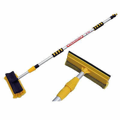 3M Extendable Pole Water Fed Telescopic Hose Wash Brush Window Squeegee Cleaner