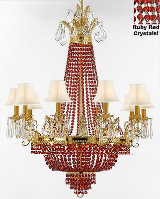 French Empire Crystal Chandelier - Dressed w/ Ruby Red crystals & White Shades