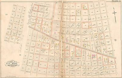 1883 New Orleans Louisiana Hebrew Cemetery Freret St - Perrier Street Atlas Map