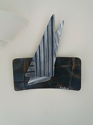New Wall Art Abstract Metal Boat Nautical Sculpture Home Decor Sailing Gift Hang