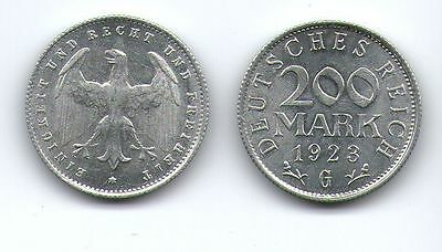 200 Mark, 1923 G, Deutsches Reich, Inflation, Aluminium, Münze /b
