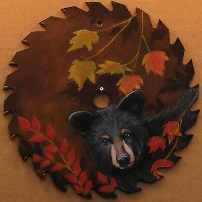 Hand Painted Saw Blade Black Bear Autumn Cabin Lodge Hunting Country Decor