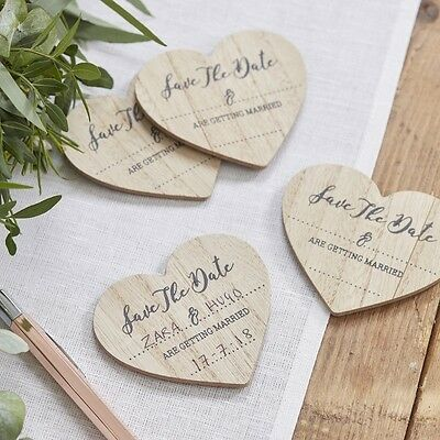 10 Save The Date Wooden Magnetic - Beautiful Botanics - wedding invitation -
