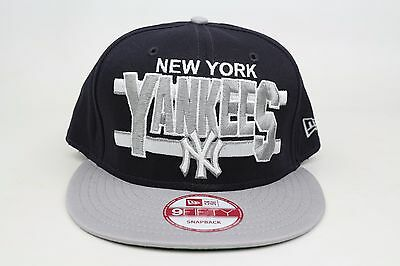 72e795e3fa3 New York Yankees Word Stripe Navy Blue Gray White New Era 9Fifty Snapback  Hat